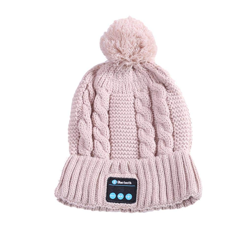 AOLVO Wireless Bluetooth Beanie Hat, Headphones Headset Winter Washable Knit Pom Pom Hat Rechargeable USB Musical Beanie Cap with Detachable Stereo Speaker for Outdoor Sports & Gifts