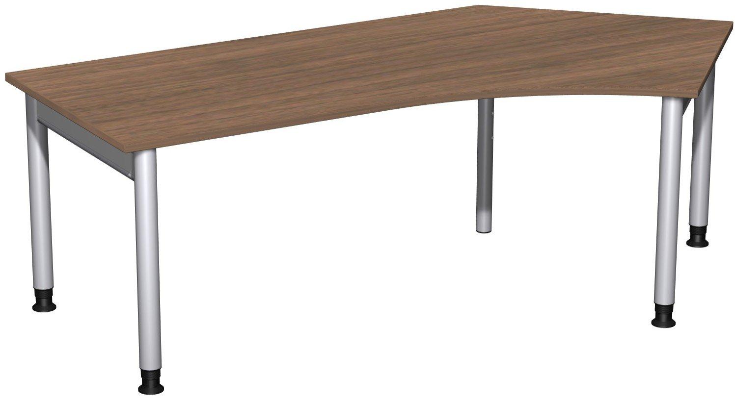 Geramöbel Schreibtisch 135° rechts höhenverstellbar, 2166x1130x680-820, Nussbaum/Silber