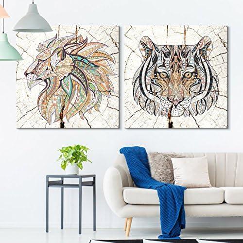 2 Panel Square Tribal Cats Wood Effect x 2 Panels