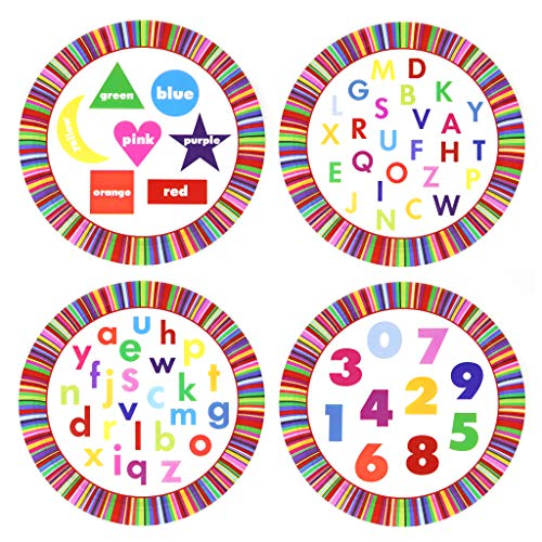 Eat and Learn - 20 Count Educational Paper Plates - Early Learning Games at Mealtime. Colors, Shapes, Upper & Lowercase Alphabet, Numbers. Great for Preschool, Party Supplies, Everyday use ()