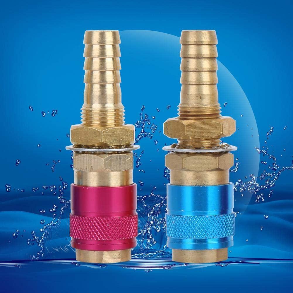 FTVOGUE 2 UNIDS 10mm Soldadura TIG Conector R/ápido Adaptador Refrigerado por Agua//Gas Conexi/ón de Conexi/ón R/ápida Para la Antorcha de Soldadura TIG Azul Rojo