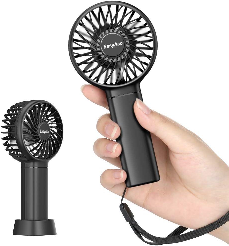 Ventilador de Bolsillo EasyAcc Mini Ventilador de Mano Ventilador portátil 3350mAh 5.5-17H Ventilador Personal de 3 velocidades con Base Desmontable y cordón para niños Mayores para Exteriores-Negro