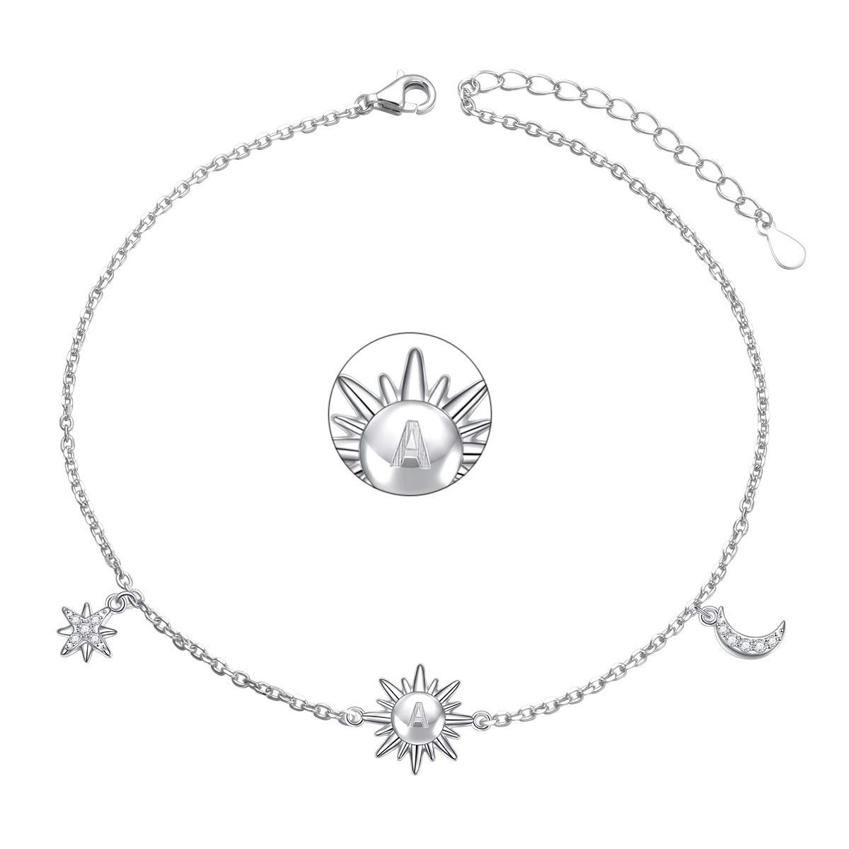 Sterling Silver Initial Letter Script Name Alphabet A Star Moon and Sun Foot Bracelet Anklet for Women Girls 9+1.5 inches