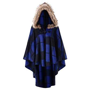 fa3e7dde1b0 DEZZAL Women s Plus Size Classic Plaid High Low Faux Fur Hooded Cape Cloak  at Amazon Women s Clothing store