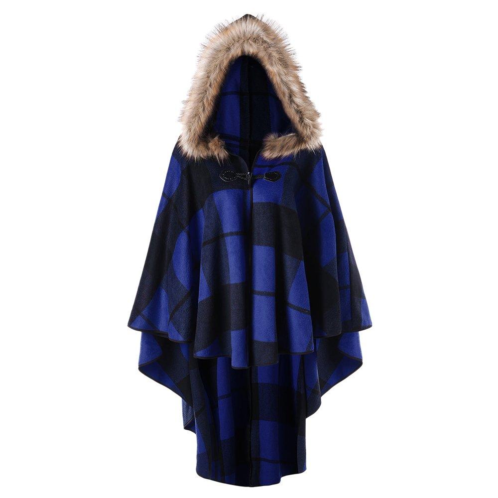 DEZZAL Women's Plus Size Classic Plaid High Low Faux Fur Hooded Cape Cloak (Blue, XL)
