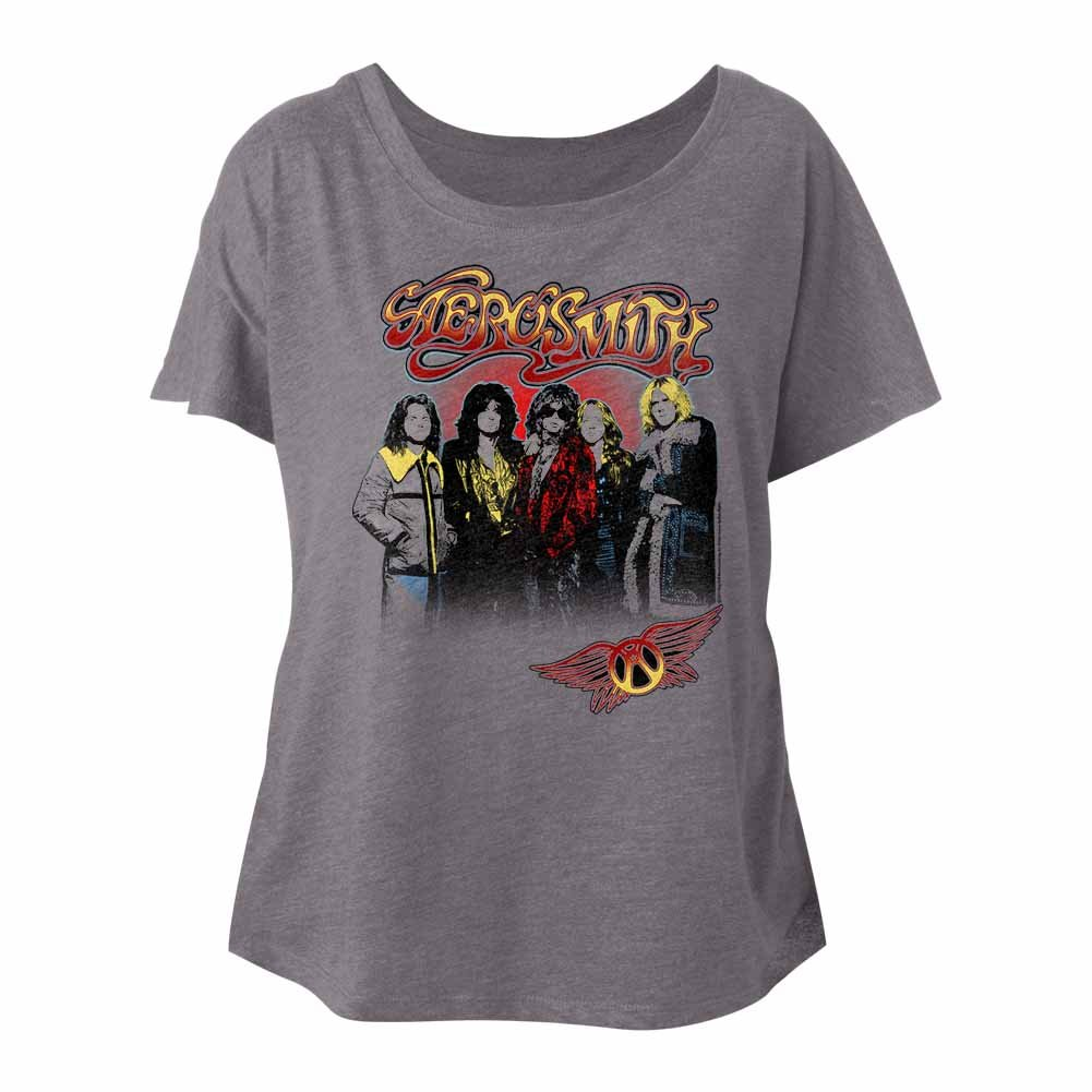 Aerosmith American Rock Band Whole Crew Nice Jackets Ladies Slouchy T-Shirt Tee