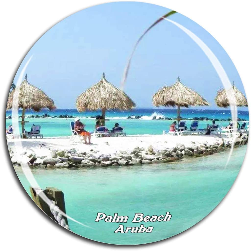 Palm Beach Aruba Caribbean Sea Fridge Magnet 3D Crystal Glass Tourist City Travel Souvenir Collection Gift Strong Refrigerator Sticker