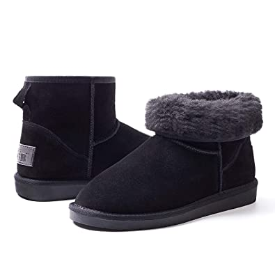 9cdc31b67c9 ZGR Women s Classics Winter Snow Boots Cow Suede Leather Mid-Calf Fur Lined  Warm Shoes