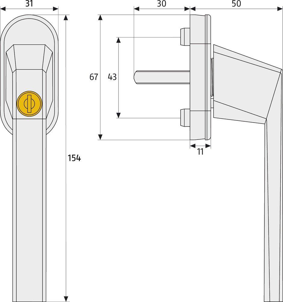 59221 wei/ß ABUS Fenstergriff abschlie/ßbar FG110
