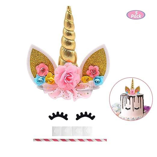 Unicornio para decoración de tartas – Unicornio cumpleaños suministros – Color dorado decoración para tartas para niñas super lindo