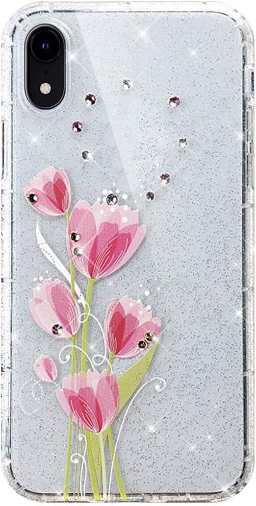 PHEZEN Case for iPhone XR Bling Case,Girls Women Glitter Bling Diamond Cute Art Design Soft Flexible Crystal Clear TPU Silicone Rubber Case Transparent TPU Bumper Case Cover,Pink Rose Flower