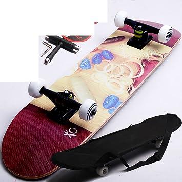 Negro soportes patín de cuatro ruedas/Carretera cepillo Street Skate/[adulto]4 doble para arriba skateboarding/Scooter profesional arce-C: Amazon.es: ...