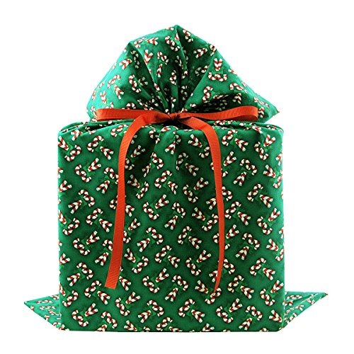 Candy Canes on Green Reusable Fabric Gift Bag for Christmas (Large 20 Inches Wide by 27 Inches High)