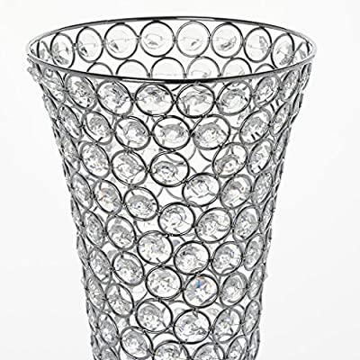 "Efavormart Set of 2 Tall Silver Beaded Crystals Trumpet Floral Vase Wedding Centerpiece 23"" Tall"