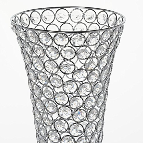 Efavormart Set of 2 Tall Silver Beaded Crystals Trumpet Floral Vase Wedding Centerpiece 23'' Tall by Efavormart.com (Image #3)