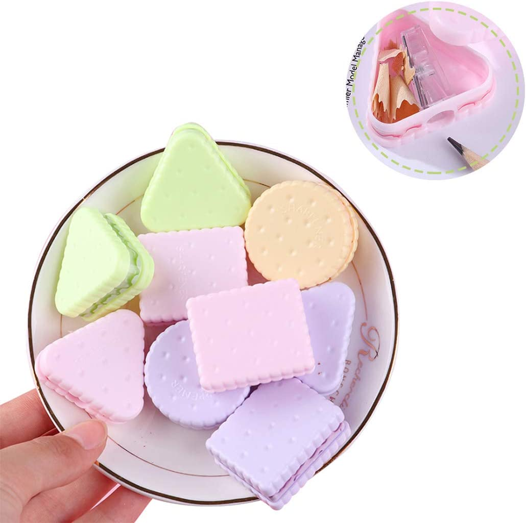 Random Color Hillento 15Pcs Cute Cookies Shaped Mini Pencil Sharpener for Student Office Stationery