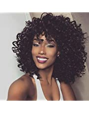 """14"""" Short Black Kinky Curly Wig Jet Black Synthetic Afro Curly Hair Wigs for Black Woman …"""