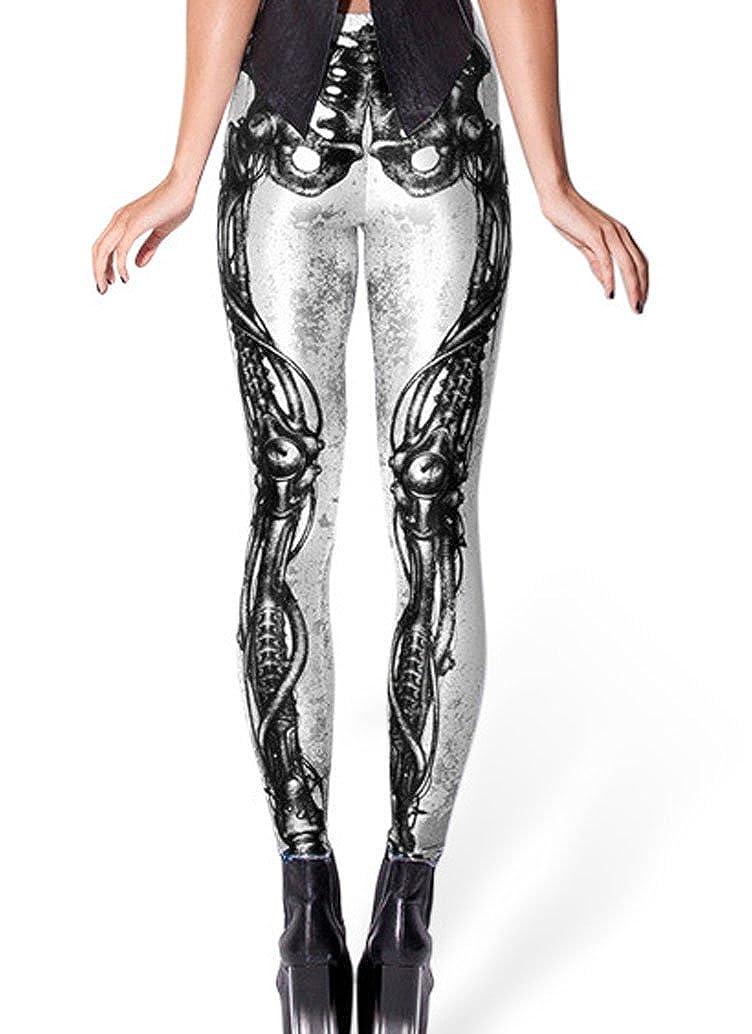 DELEY Mujeres Leggings Funky Dibujos Animados Animaci/ón 3D Impresi/ón Skinny Pantalones L/ápiz El/ásticos Pantal/ón