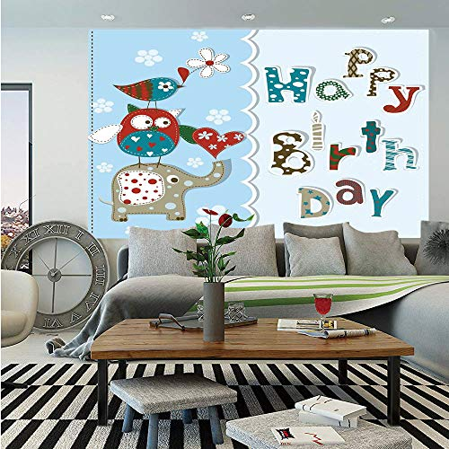 SoSung Birthday Decorations for Kids Huge Photo Wall Mural,Patchwork Inspired Owl Birds Elephant Flowers,Self-Adhesive Large Wallpaper for Home Decor 100x144 inches,Sky Blue and Light Blue -