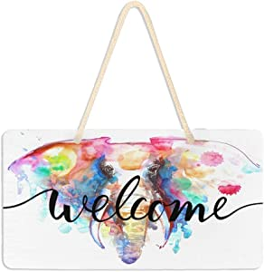 WELLDAY Hanging Plaque Welcome Sign Elephant Watercolor Porch Front Door Wall Decor for Home