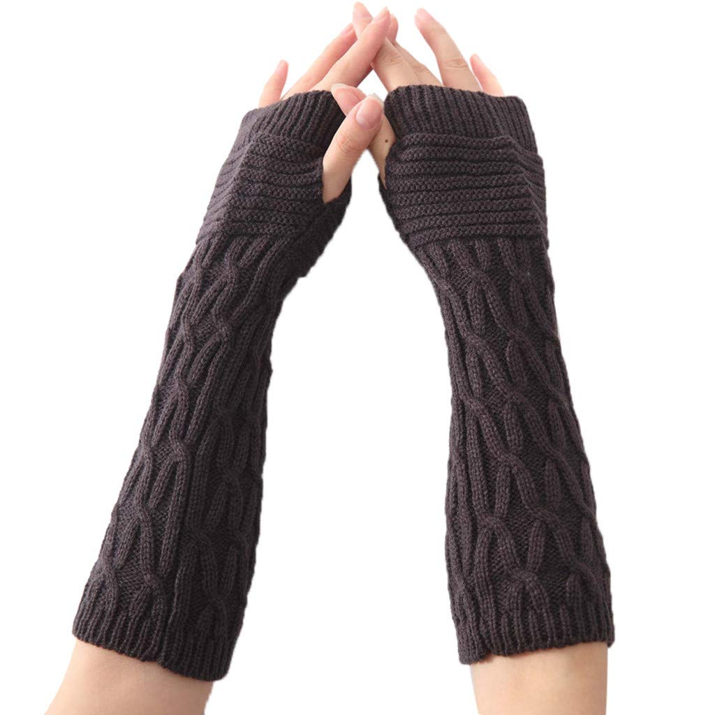 Iusun Winter Gloves for Women Multi-function Wind Proof Fashion Wrist Arm Warmer Solid Mitten Hands Long Fingerless Bicycle Gloves Runing Cycling Ski Riding Climbing Indoor Outdoor Sports