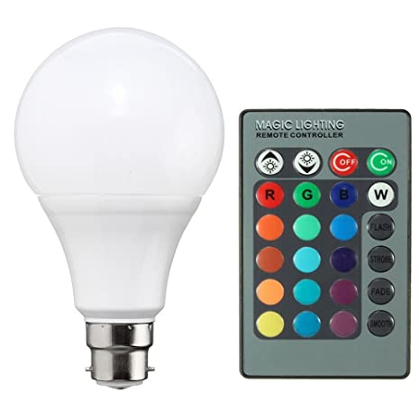 Merssavo Bombillas B22 LED Bombillas Globo de Ahorro de Energía 5W y Control Remoto