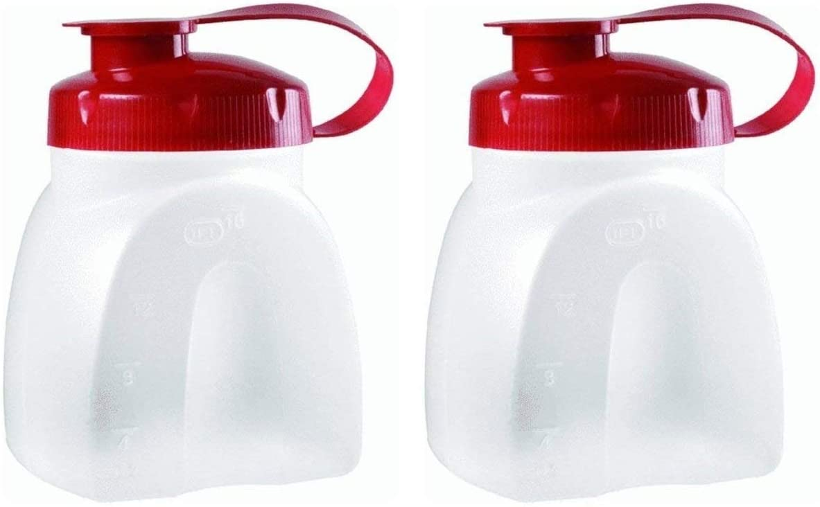 Rubbermaid SYNCHKG091273 MixerMate Servin' Saver Pint Bottle (2-Pack), Red, Clear