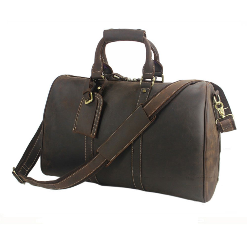 Yangjiaxuan Men Travel Bag Carrying Bag Genuine Leather High Capacity Luggage Leather Crossbody Bag Hand Baggage Color : Brown