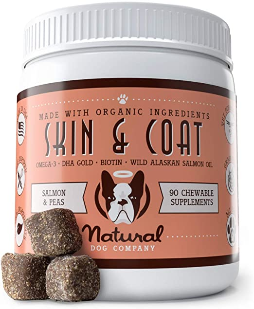 Natural Dog Company Skin & Coat Supplement Chews with Wild Alaskan Salmon Oil, Omega 3 & 6, EPA & DHA, Promotes Healthy Skin and Coat, Salmon & Peas Flavor, 90 Count