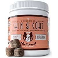Natural Dog Company Skin & Coat Supplement Chews with Wild Alaskan Salmon Oil, Omega 3 & 6, EPA & DHA, Promotes Healthy…