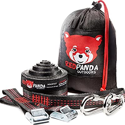 RED PANDA Outdoors Top-Notch Hammock Tree Straps - The Easiest Way To Hang Any Hammock | Strong & Lightweight Suspension System 500+ LB per strap | 25 FT Long
