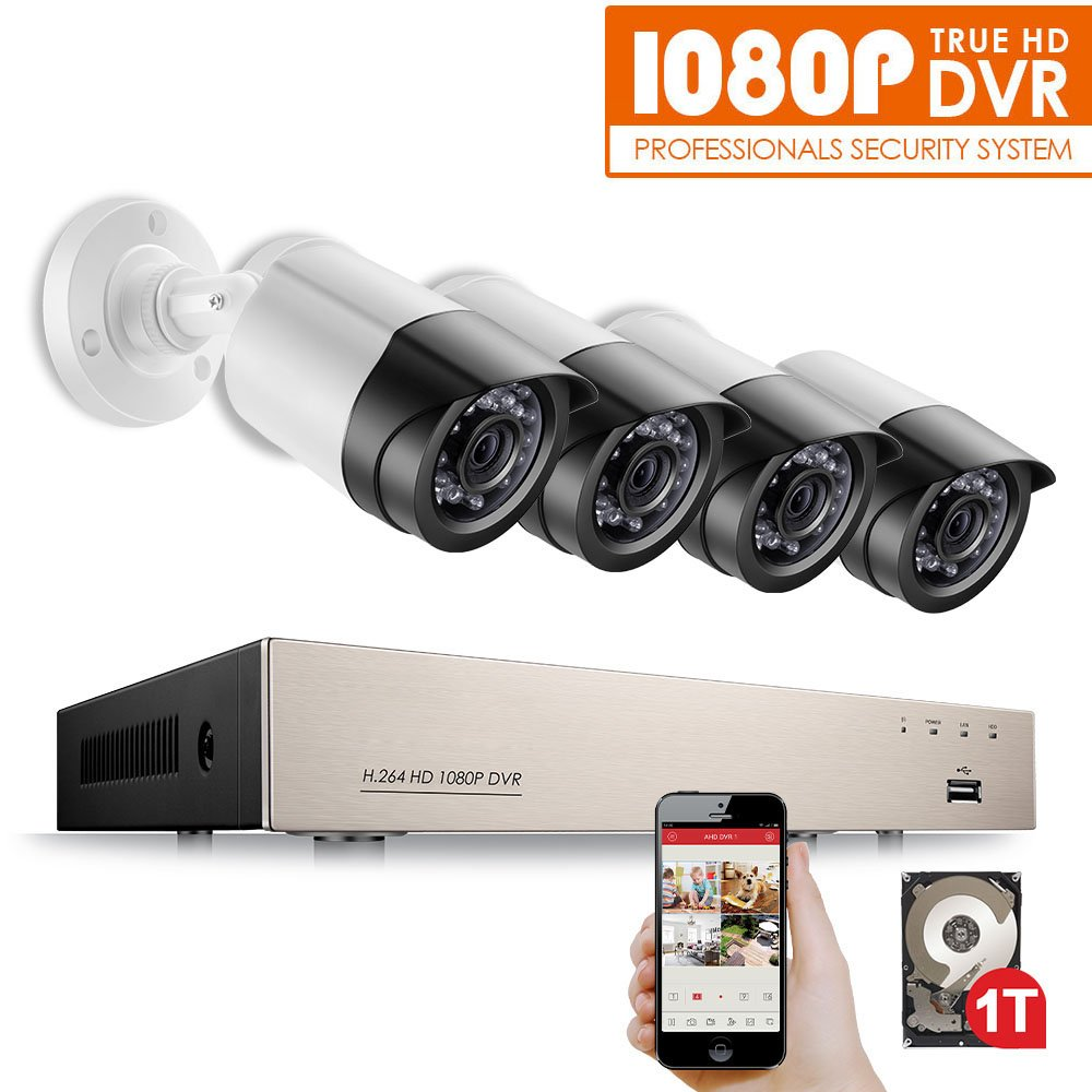 Anlapus 4CH Full High Definition 1080P Security Camera System DVR with 1 TB Hard Drive and (4) 1080P 2.0 MP 2000TVL Outdoor Waterproof Bullet Cameras
