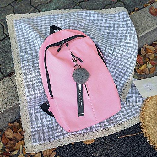 Bolso de Escuela Femenino Coreano Edition Bandolera de Estudiante de Secundaria Nuevo Elegante, Amarillo Colgante Sachet Pink wool ball pendant Sachet