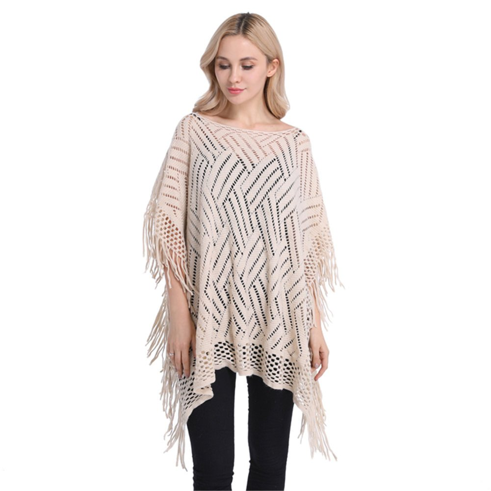 Women Knitted Comfort Pure Color Tassel Pullover Crochet Hollow Out Poncho Cape Cloak Shawl Beige