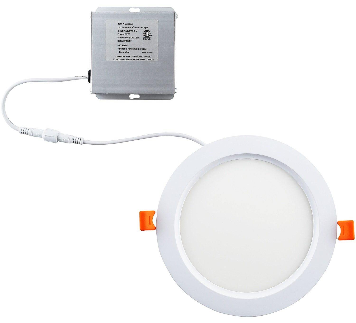 Yay Lighting LED Recessed Ceiling Light – Ultra Thin 6'' Round Spotlight – Dimmable - ETL List - IC-Rated - 1050 Lumens - with Remote Driver Box (6 inch, Warm White 3000K)