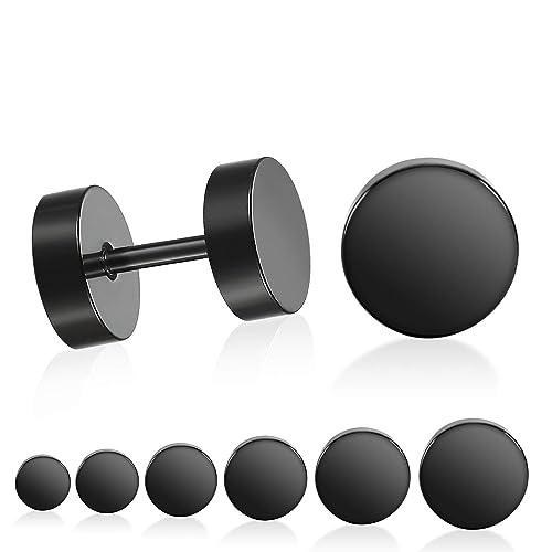 Pendientes de tornillo negro, CNNIK 3MM-10MM Acero ...