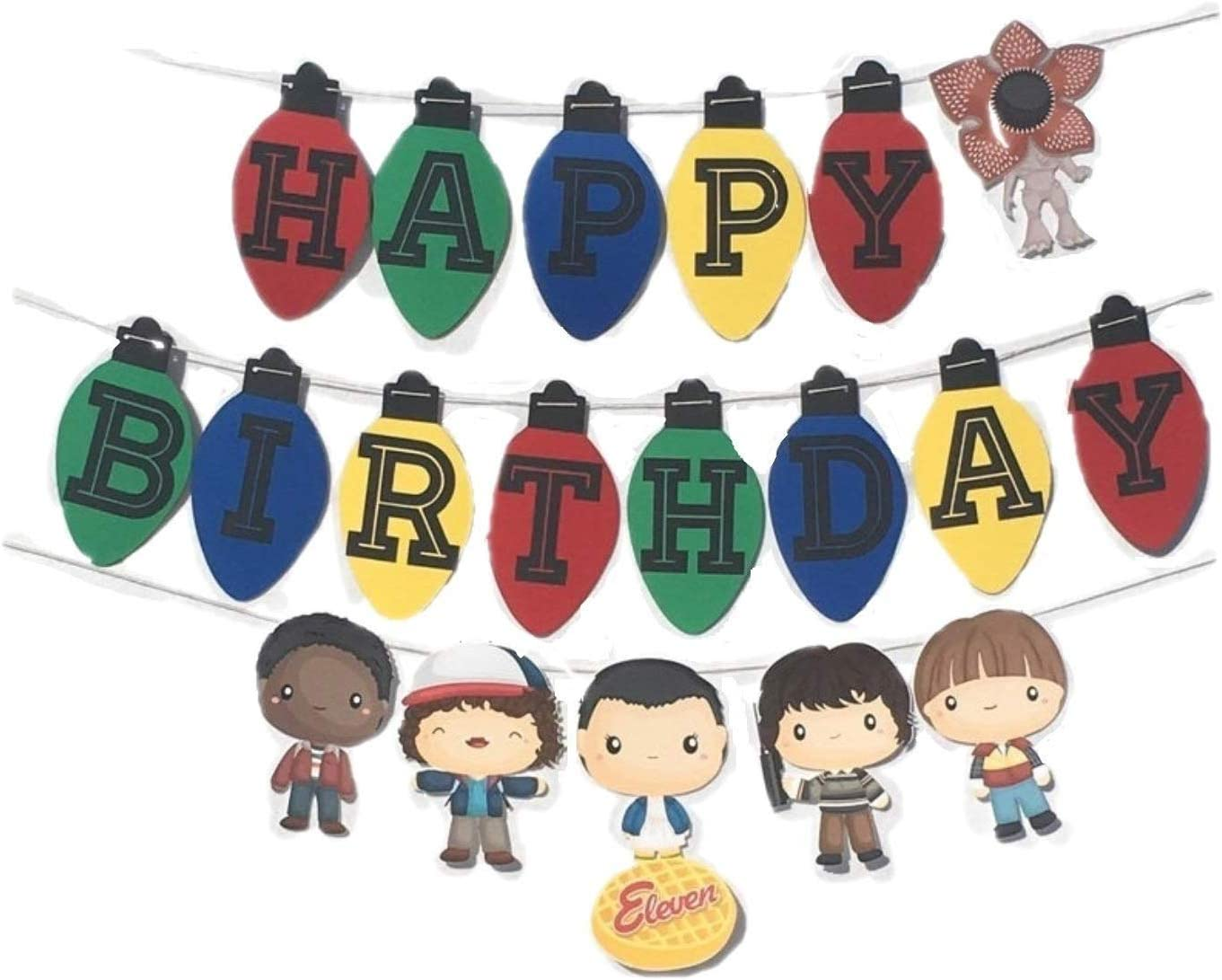 Vercico Birthday Party Banner for Eleven Things Themed Party Supplies Happy Birthday Banner Joyce Byers Lights Shaped Bunting Banner