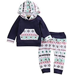ONE'S Babys Printing Hoodie Outfits Infants Fall Long Sleeve Pocket Sweatshirt Pant 2PCS Clothes