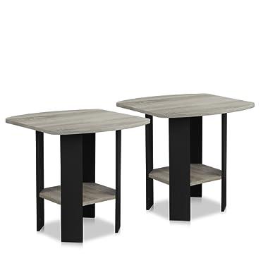 Furinno 2-11180GYW Simple Design End Table (Set of 2), Oak Grey/Black