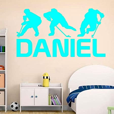 Crjzty Apliques Pegatinas de Pared coloridasHockey Wall Art Nombre ...