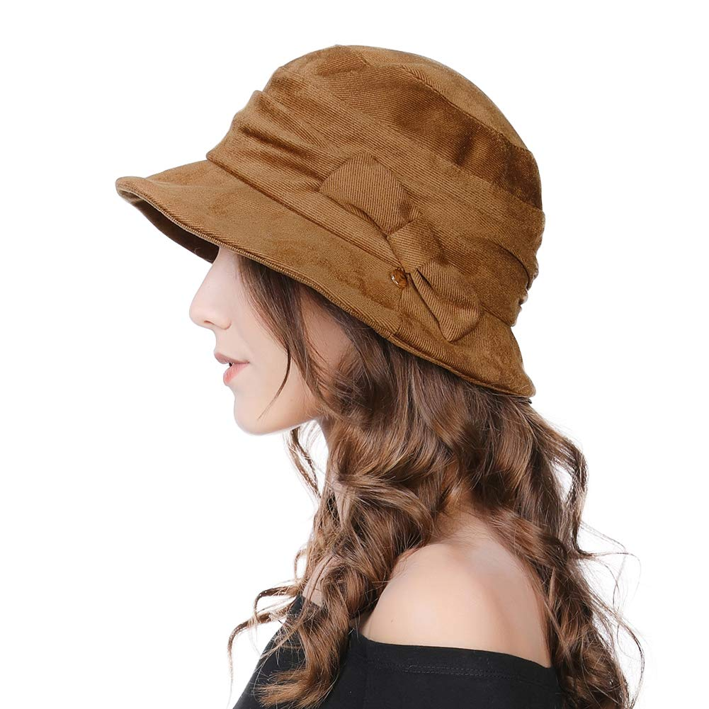 Ladies 1920s Vintage Cloche Derby Dress Hat Fashionable Winter Bucket Hats for Women Packable /& Adjustable