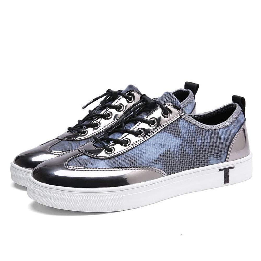 Oudan 2018 Herren Turnschuhe Flache Ferse schnüren Sich PU Vamp Solid Farbe Casual Schuhe (Farbe   schwarz rot, Größe   40 EU) (Farbe   Grau, Größe   44 EU)
