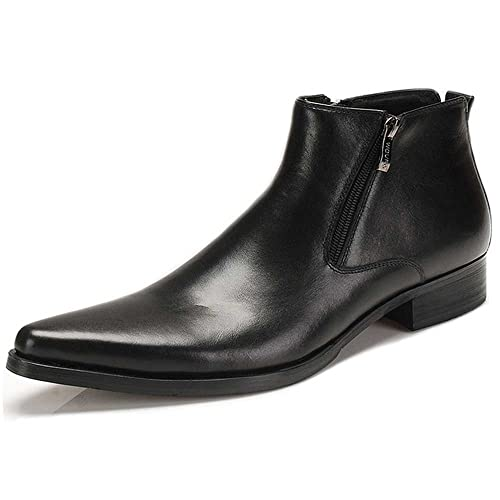 cheap price amazon amazon Fulinken Genuine Leather Pointed Toe Chat Zip Men Formal Shoes Dress Boots