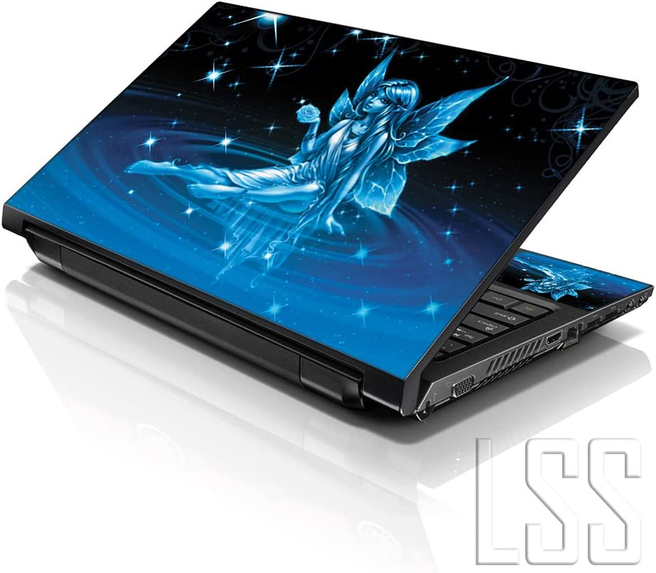 """LSS Laptop 15 15.6 Skin Cover with Colorful Cinderella with Wings Pattern for HP Dell Lenovo Apple Asus Acer Compaq - Fits 13.3"""" 14"""" 15.6"""" 16"""" (2 Wrist Pads Free)"""