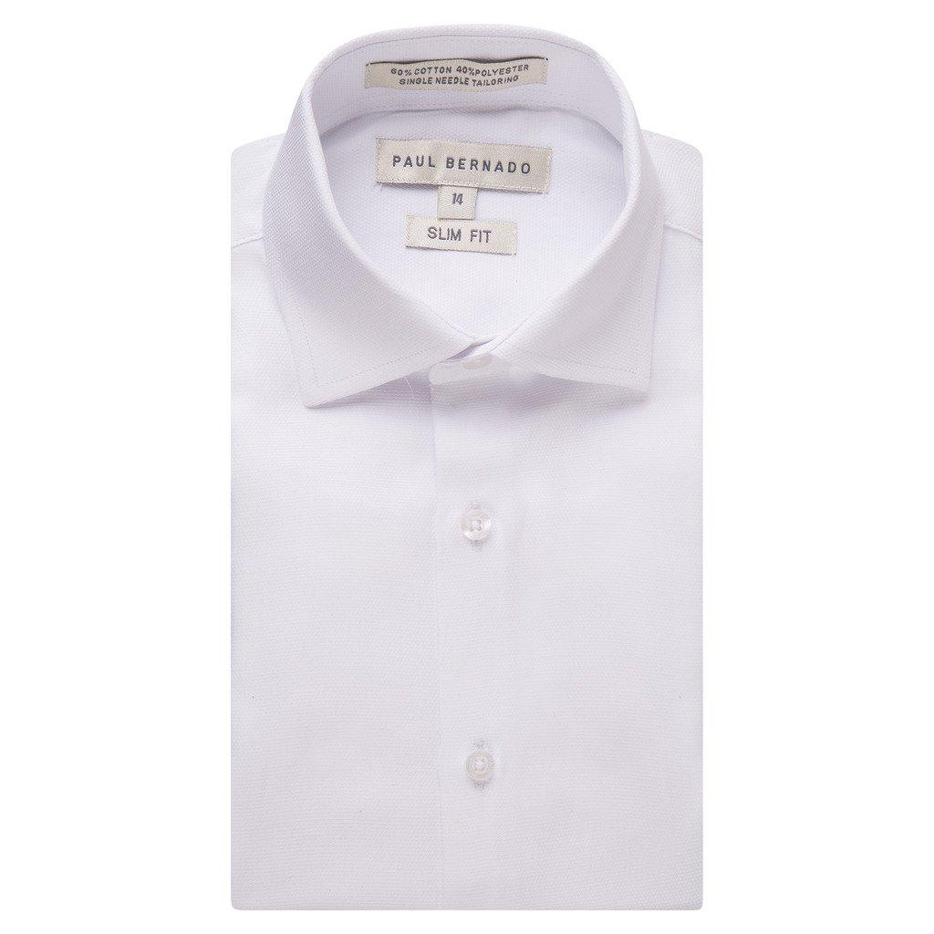 Paul Bernado Boy's 2202SL Long Sleeve Slim Fit Pique Design Dress Shirt - White - 3