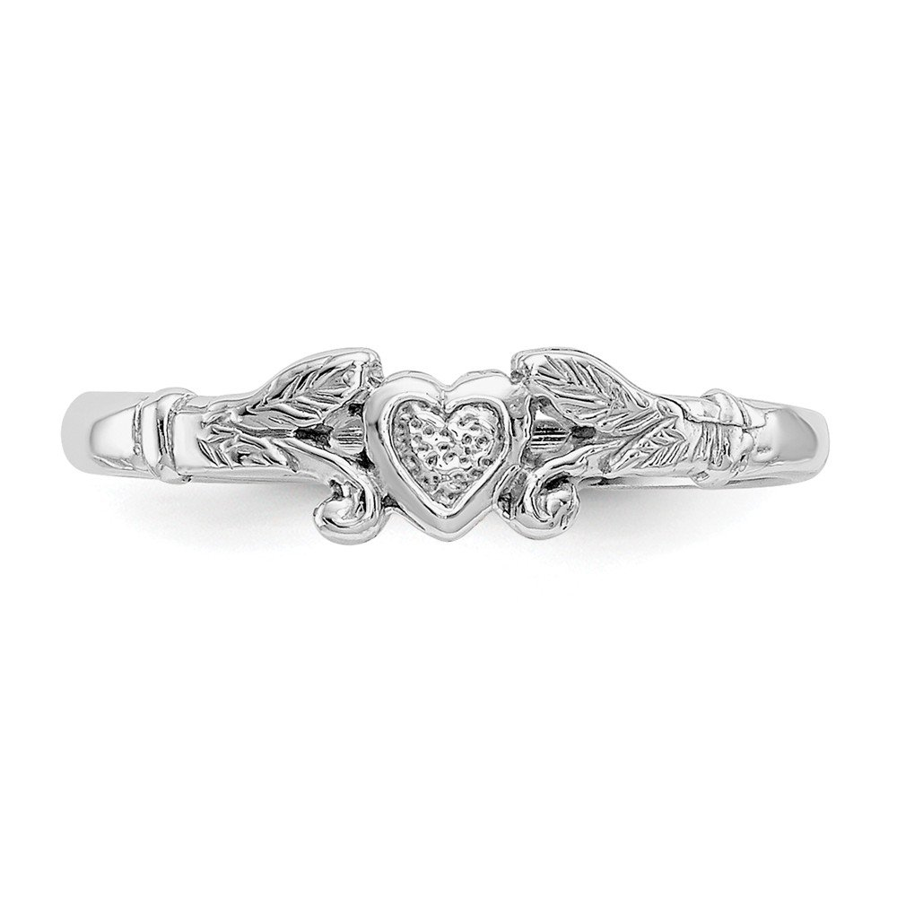 14K White Gold Baby Childrens Ring Solid Rhodium Textured Mini Heart Baby Ring