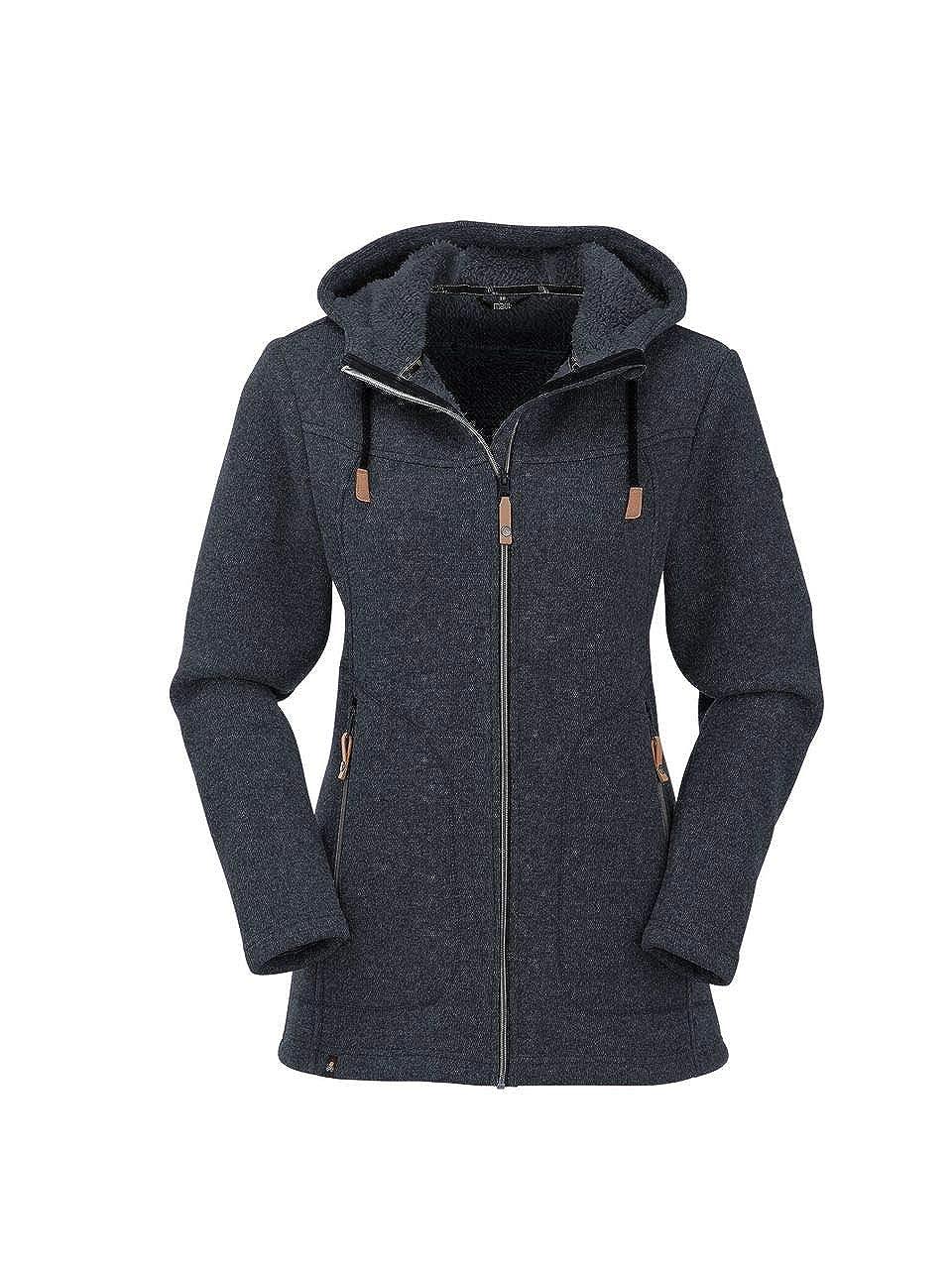 Maul Damen Wilde Kaiserin Lg.strickfleeceja+ka Polar-Strickfleece Lange Jacke Mit Kapuze