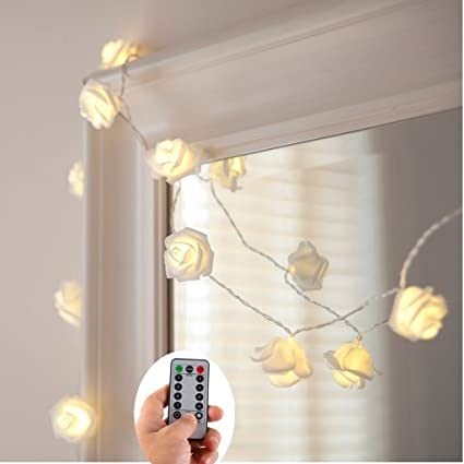30 White Rose String Lights with Remote,Battery Powered 30 Warm White LED  Fairy Lights - Amazon.com : 30 White Rose String Lights With Remote, Battery
