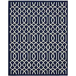 Garland Rug Fretwork Area Rug, 8 x 10, Indigo/Ivory