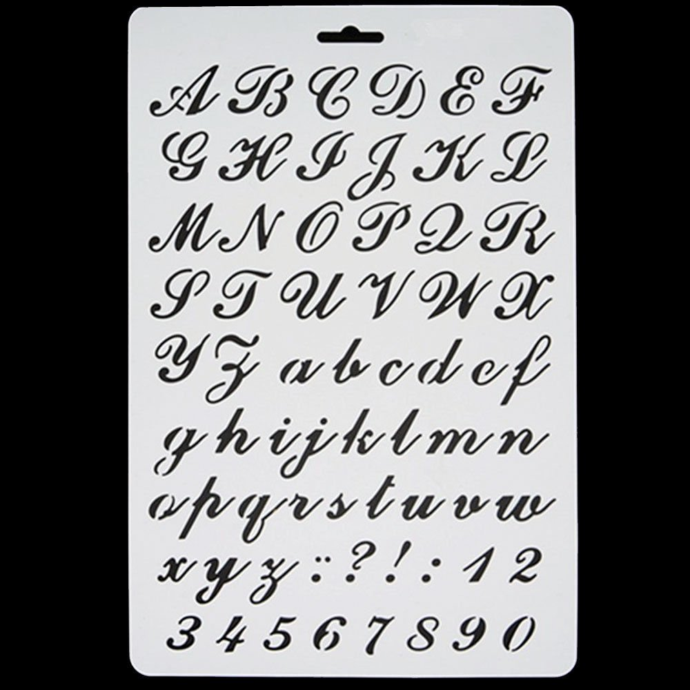 Stencil Italic Alphabet Letters Numbers Mask Decoration